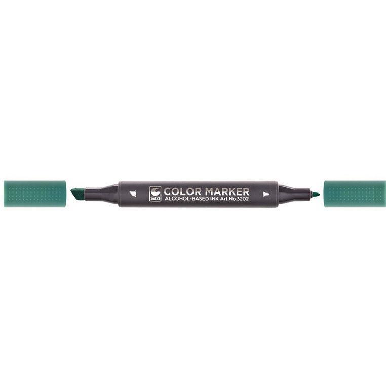 Маркер для бумаги двухсторонний STA 3202 0,7мм, 1-7мм_красная герань (STA3202-15)