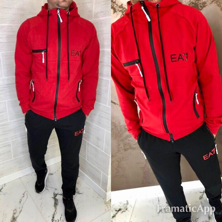 Костюм спортивный мужской яркий двухцветный, двунитка,  штаны на манжете  + капюшон, фото 1
