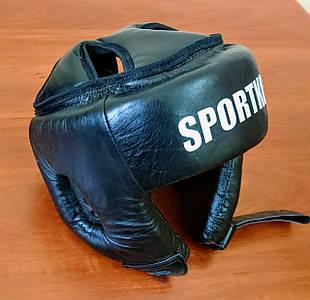 Защита боксера. Шлем боксерский открытый (кожвинил). ЧЕРНЫЙ.