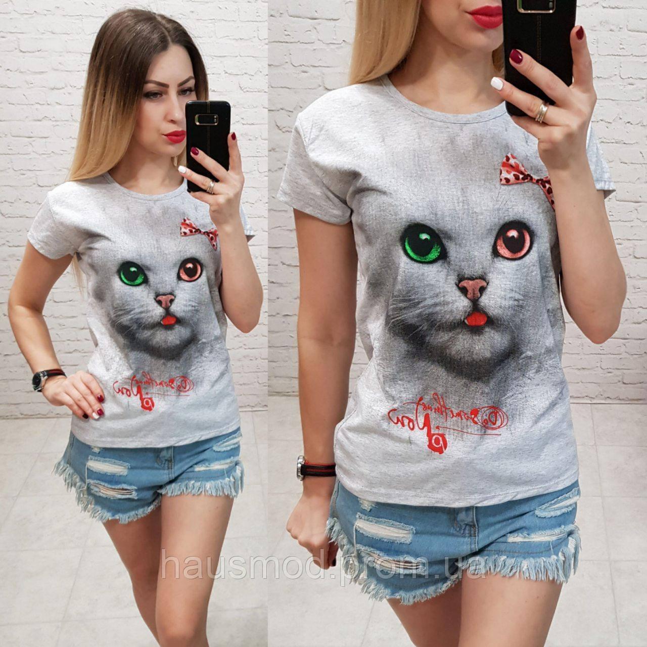 Женская футболка летняя рисунок Кошка Cat 100% катон качество турция цвет серый