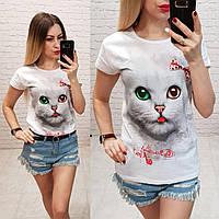 Женская футболка летняя рисунок Кошка Cat 100% катон качество турция цвет белый, фото 1