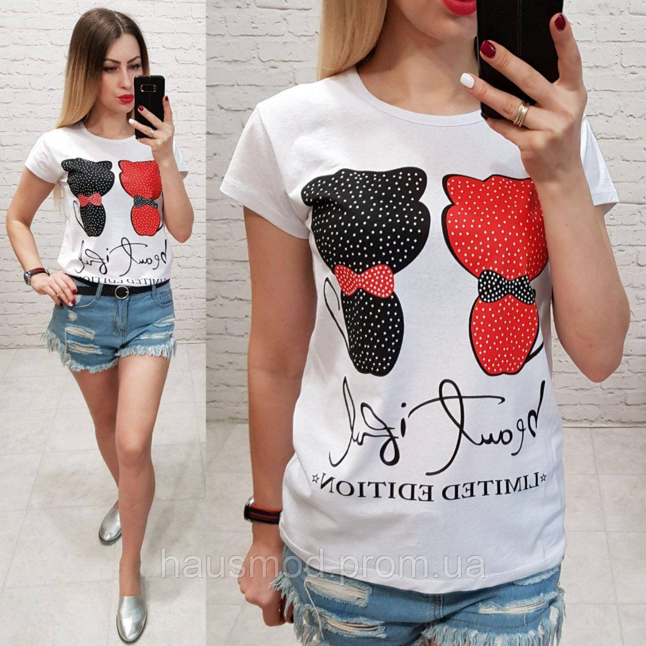 Женская футболка летняя рисунок кошки черная и красная 100% катон качество турция цвет белый