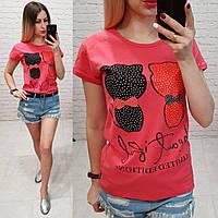 Женская футболка летняя рисунок кошки черная и красная 100% катон качество турция цвет красный, фото 1