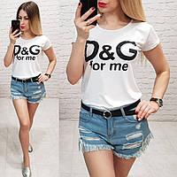 Женская футболка летняя реплика Dolce & Gabbana 100% катон качество турция цвет белый, фото 1