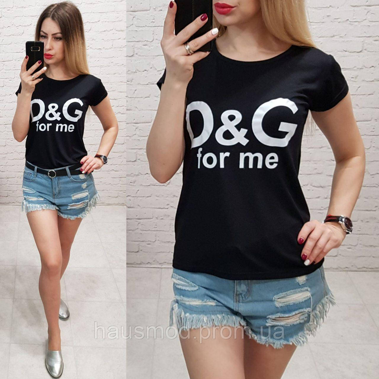 Женская футболка летняя реплика Dolce & Gabbana 100% катон качество турция цвет черный