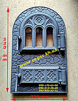 Дверка с жаростойким стеклом чугунная, барбекю, печи, грубу, мангал, камин