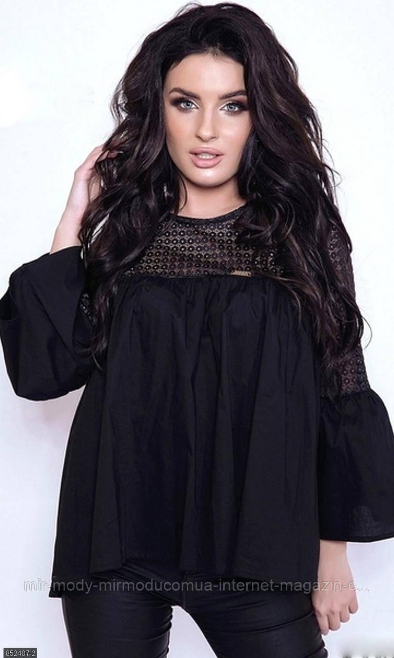 Блуза 852407-2 черный (2 цвета) с 48 по 54 размер(мш)