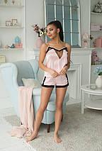 """Шелковый женский комплект-пижама  """"Lora"""" с кружевом, фото 3"""