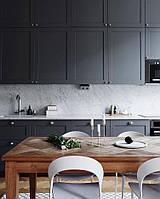 Кухня на заказ с фрезерованными фасадами графит. мдф