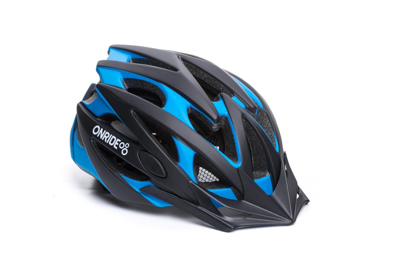 Велошлем OnRide Cross матовий чорний-блакитний M