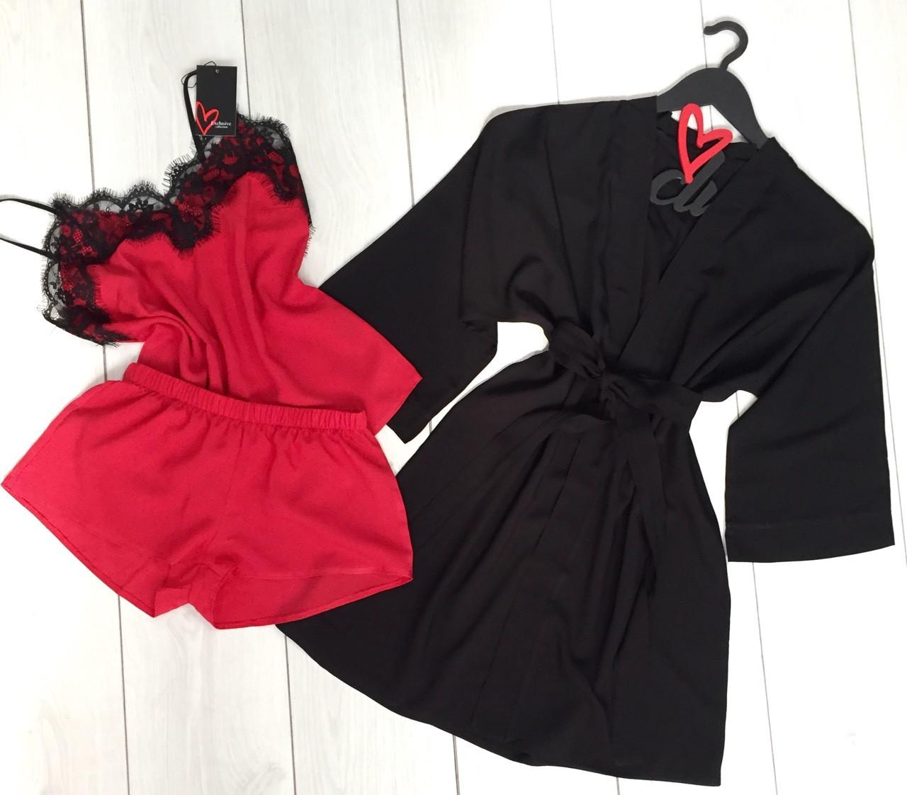 Хлопковый комплект тройка халат майка шорты, пижама женская