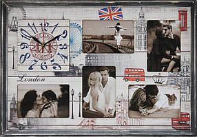 """Фоторамка коллаж с часами """"London"""" 38x53 см (CW5-202)"""