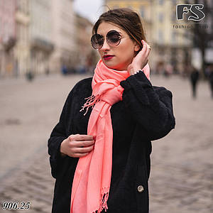 Шерстяной стильный шарф из пашмины цвет Розовый неон