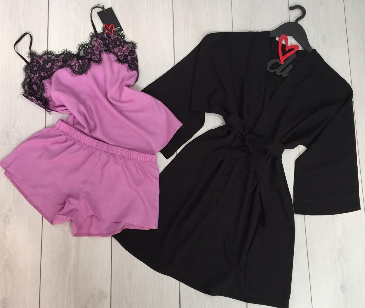 Комплект женский домашний, хлопковая пижама с красивым кружевом