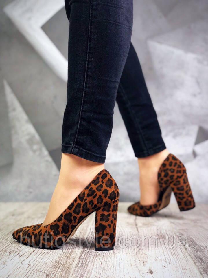 35 размер Женские туфли леопард  Luxury Chic натуральная замша,  2019