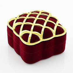 Футляр 740372 для кольца, бордовый бархат, размер 5*3.5 см