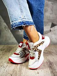 Женские крутые кроссовки белые с леопардом натуральная кожа+замша на платформе