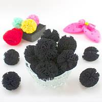 (5шт) Ажурные мини помпоны из мягкой сеточки Ø2,5см Цена за 5шт Цвет - Чёрный
