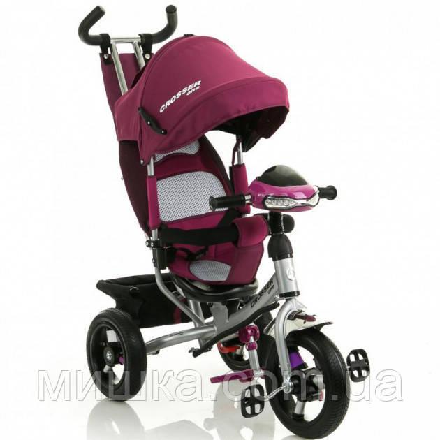 Crosser One T1 AIR велосипед детский бордовый трехколесный (надувные колеса) ФАРА