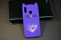 Чехол бампер силиконовый Xiaomi Redmi Note 7 Ксиоми Сяоми Ноут Ноте 3D Кошачьи ушки цвет фиолетовый Soft-touch