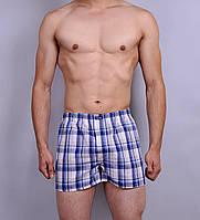 Мужские  трусы боксеры из поплина C+3 #005  XL белые с синим