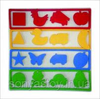 Міні-килимок Логіка, для вивчення кольорів, геометричних фігур і розвитку логіки, 1+