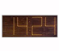 Светодиодные часы в деревянном корпусе. Цифры 520*220 мм (дата, время, температура) , фото 1