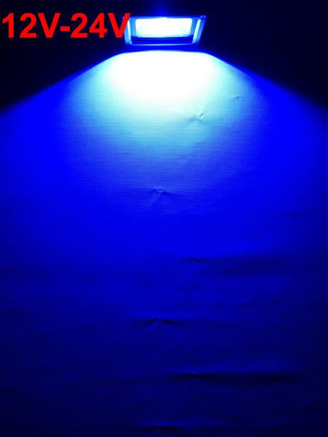 Светодиодный прожектор 10W 12-24В синий IP65 Код.59306