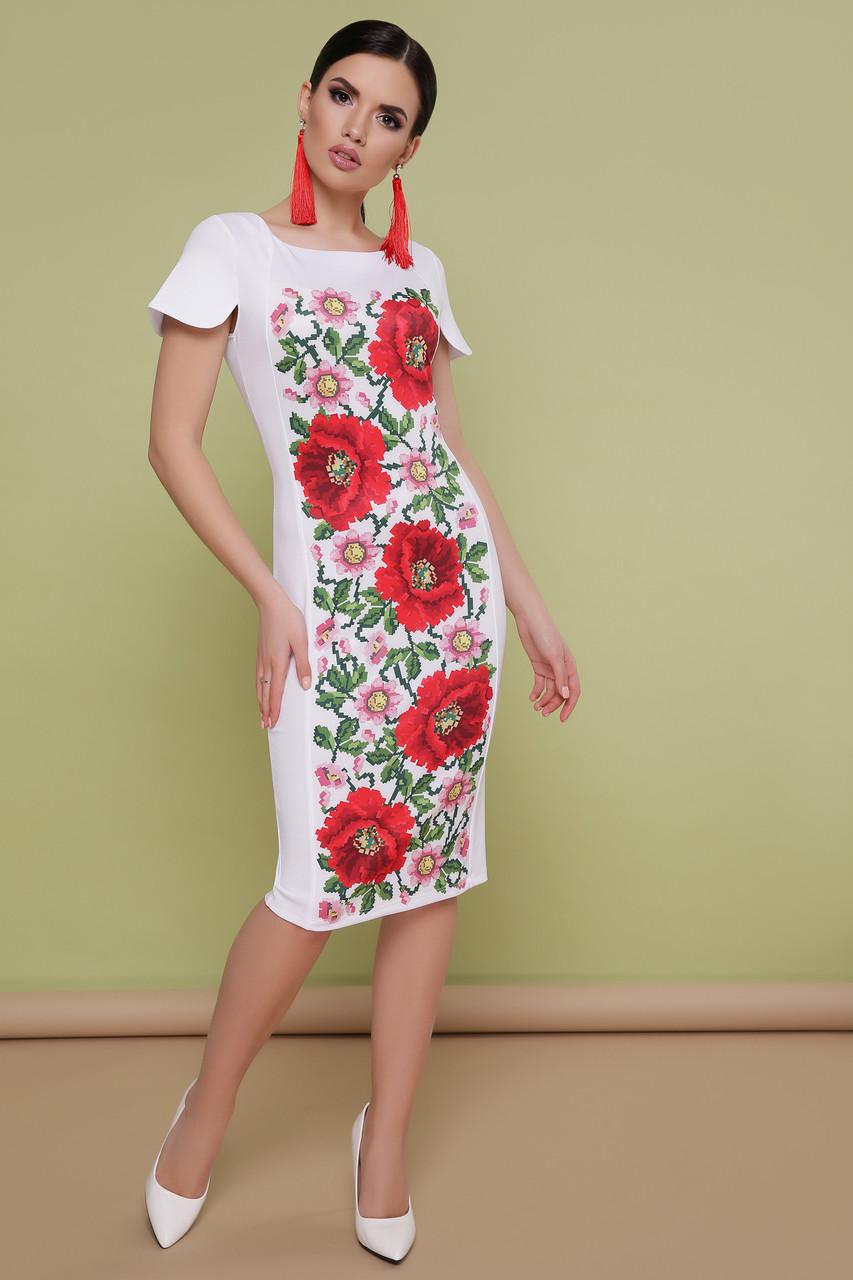 214a7345d39a506 Нарядное белое платье по фигуре до колен с цветочным принтом в украинском  стиле Маки Питрэса-