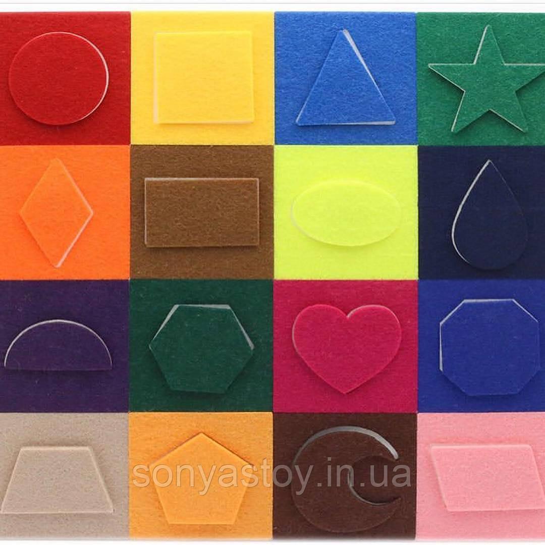 Мини-коврик Геометрия, для изучения цветов и геометрических форм, 1+