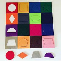 Міні-килимок Геометрія, для вивчення кольорів і геометричних форм, 1+