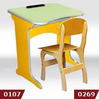 """Комплект """"Фантазия"""", стол-парта 1-местный, ростовой группы № 3 - 600х450х520 мм + стульчик"""