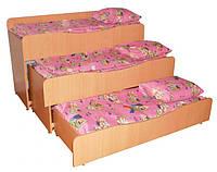 Кровать детская, 3-ярусная, выдвижная, без тумбы ― 1518х650/1800х820 мм