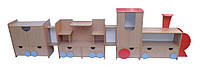 Стенка для игрушек «Паровоз» — 3500х380х1300 мм