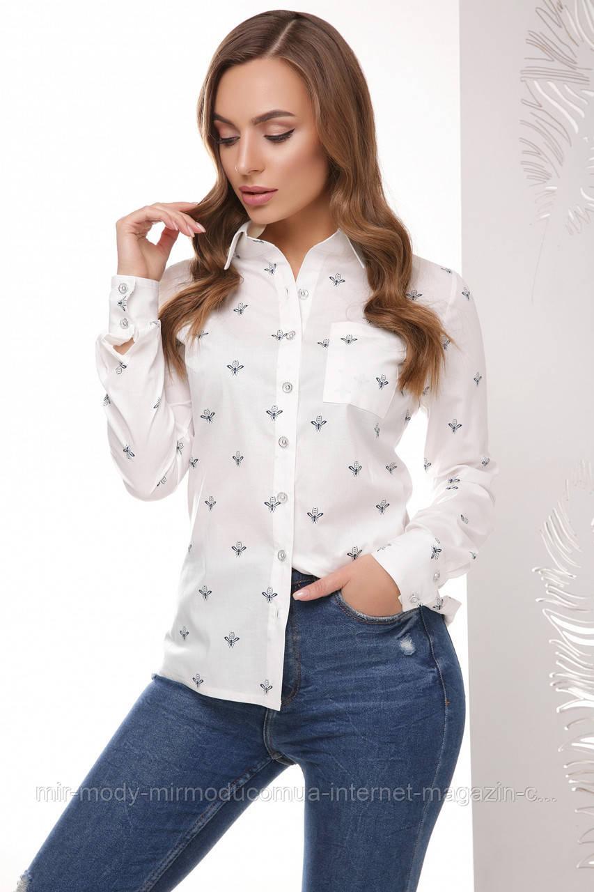 Блуза 1766 белые пчелки 42 по 46 размер(мас)