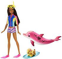 Лялька Барбі брюнетка Магія дельфінів Barbie Dolphin Magic Snorkel Doll