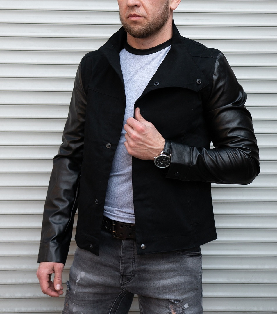 Коттоновая куртка с кожаными рукавами