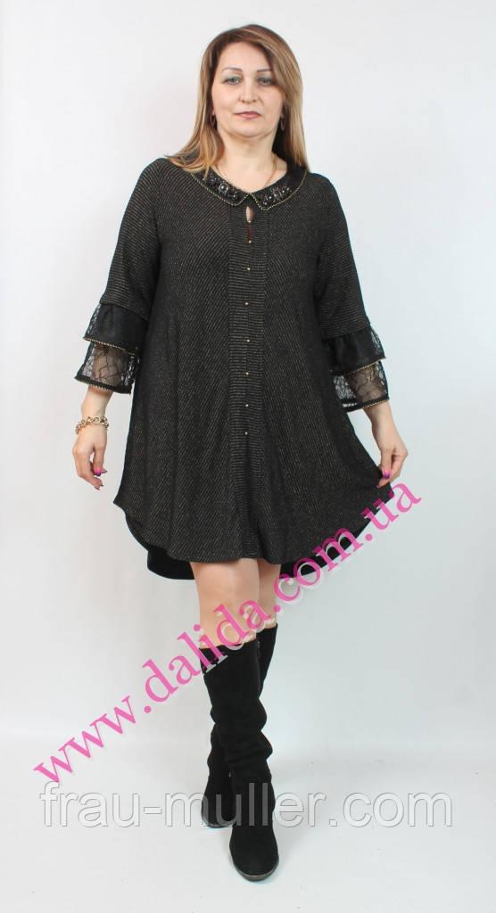 c2fc93bf0d0 Платье-туника черное с люрексом удлиненное на спинке Darkwin - Стоковый и  комиссионный магазин