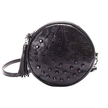 Модная маленькая женская сумка. Сумка женская с шипами круглая под кожу (черная)