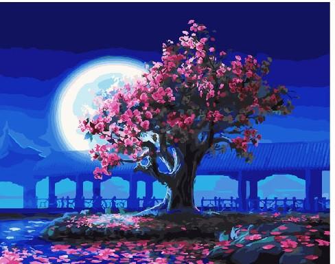 Картина по Номерам 40x50 см. Цветущая сакура над озером