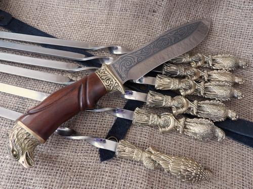 """Набор шампуров ручной работы """"Птицы"""" с ножом, в кожаном колчане"""