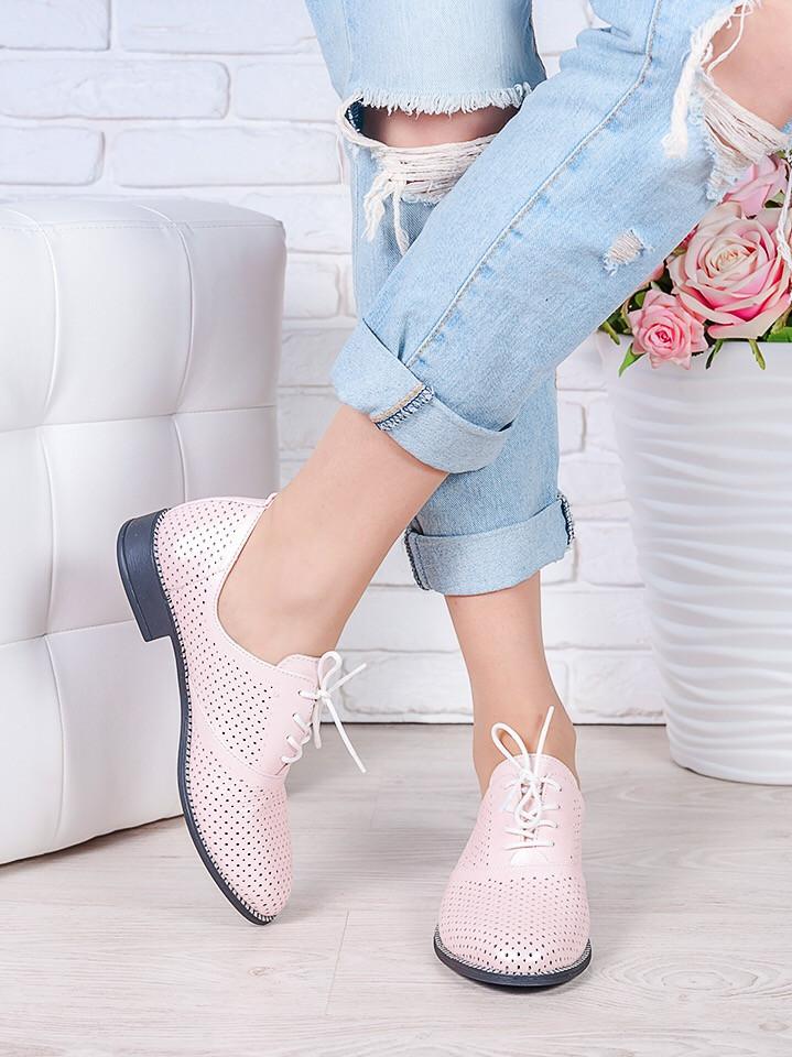 Туфли кожаные пудра (лето) Эвелин 7007-28
