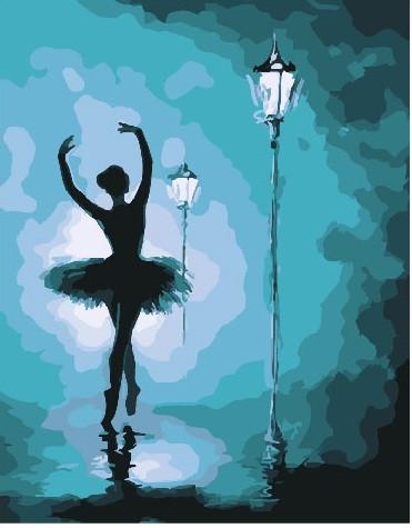 Картина по Номерам 40x50 см. Балерина в свете фонарей