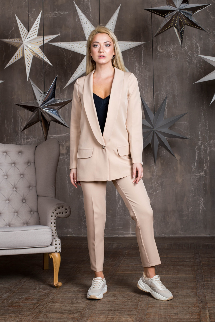 Женский брючный классический костюм с прямым пиджаком 64ks1060