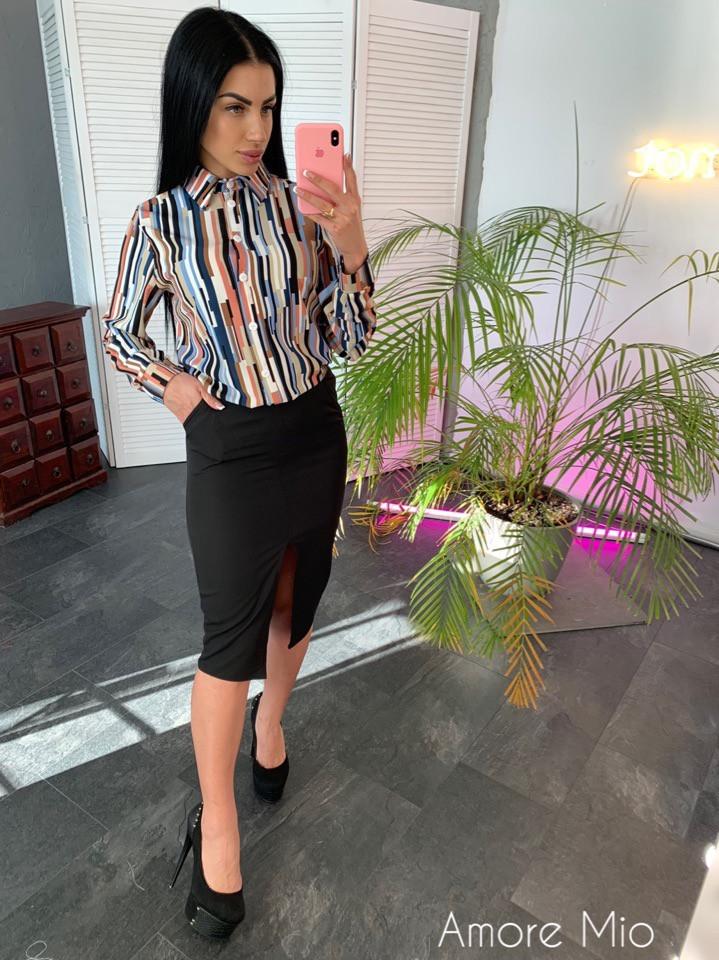 Женский юбочный костюм с шелковой рубашкой 73ks1062
