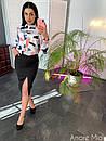 Женский юбочный костюм с шелковой рубашкой 73ks1062, фото 2