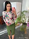 Женский юбочный костюм с шелковой рубашкой 73ks1062, фото 6