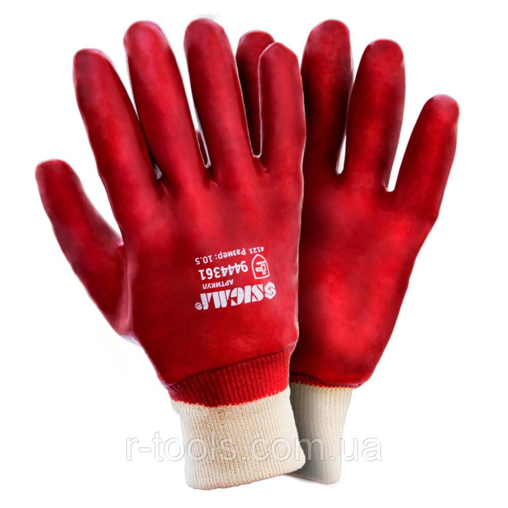 Перчатки трикотажные с ПВХ покрытием красные манжет Sigma 9444361