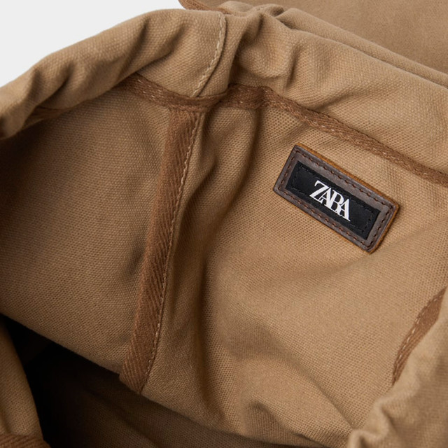 Брезентовый рюкзак Zara | фото внутреннего отделения.