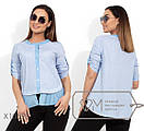 Женская коттоновая рубашка в батале на лето 1BA1563, фото 2